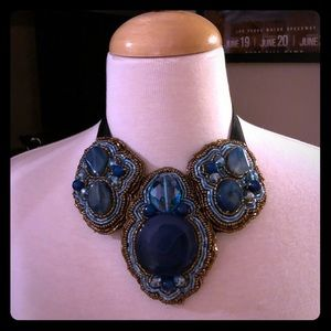Blue bold statement necklace